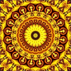 Christine Bässler - Mandala gelbe Herzen 2