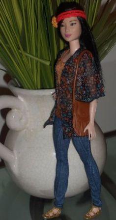 Barbie-Fashionista-OOAK-Petite-Asian-Doll-w-Boho-Clothes-Shoes-Accessories