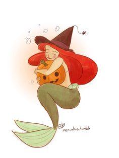 Ariel Halloween, Halloween Art, Happy Halloween, Halloween Rocks, Disney Fan Art, Disney Love, Disney Magic, Disney Stuff, Mermaid Pictures