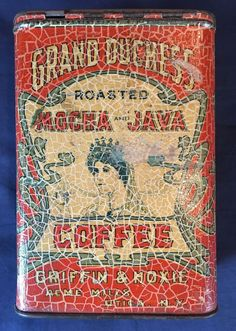 Grand Duchess Coffee Vintage Tins, Vintage Coffee, Coffee Tin, Tin Cans, Lust, Old Things, Oil, Canning, Antiques
