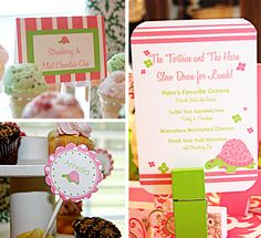 Adorable pink and green turtle party idea!
