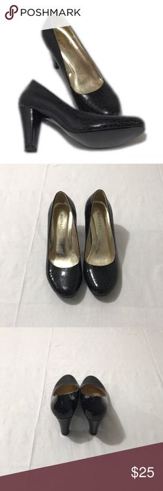 Monroe & Main Black Crackle Heels, Size 9W Monroe & Main Black Heels with a crackle finish. 4 inch heels as shown in the picture. These heels are in excellent preloved condition and have a lot of life left in them. They are a size 9W. Bundle for more savings and I'm open to offers! Monroe & Main Shoes Heels