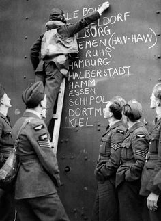 RAF Blenheim crews of No. 110 Squadron at Wattisham add Le Bourget to a list of recent targets, August 1940.