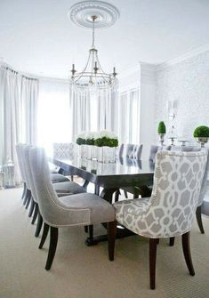 Superieur I Am Looking For A Formal Dining Set Like This That Is Reasonable In Cost!  Lux Decor: Elegant Dining Room With Silvery Gray Damask Wallpaper And Dark  ...