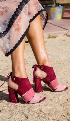 """For a dose of head-turning color, wear spring's """"it"""" hue, pink, in the form of these rosy suede sandals."""
