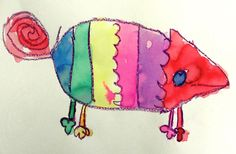 A Colour All His Own - watercolour chameleon
