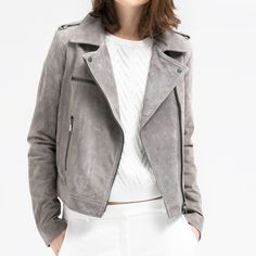 Suede Cropped Moto Jacket from Mango Grey Squede Moto jacket from Zara. Great condition. Willing to accept best offer. Mango Jackets & Coats
