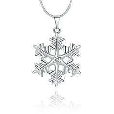 45ee00308 Silver Clear White Snowflake Pendant Necklace with Swarovski Crystals