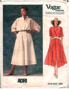 Uncut, factory folded Vogue American Designer (ADRI) pattern 1351 size 8 (bust I bought this pattern secondhand. Vestidos Vintage, Vintage Dresses, Vintage Clothing, Vintage Vogue Patterns, Shirtwaist Dress, Vintage Denim, Flare Skirt, Retro Fashion, Vintage Fashion