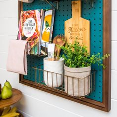 This pegboard organizer kit works well with our pegboards for space saving in the kitchen and many other areas of the home.  #pegboard #wirebaskets #homeorganization #homeorganizationideas #kitchen #kitchenideas #kitchenorganization #spacesaver #pegboardgarageorganization #pegboardinspiration