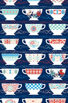 tea time, pattern, cups, red white blue, rccis, design thing, tea cup, teacup