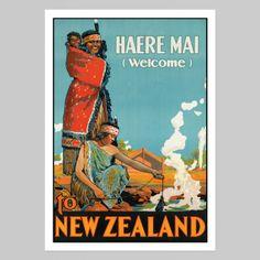 Haere Mai New Zealand Vintage Poster - Art Prints NZ Art Prints, Design Prints, Posters & NZ Design Gifts | endemicworld