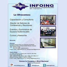 @InfoingCursos#capacitación #InCompany ¿Por qué INFOING Consultoría y #Capacitación es una excelente opción? Si desea un curso In Company, solicite un presupuesto... * Web: http://www.infoing.com.ve * Facebook: Infoing * Teléfonos: Caracas: + 58 (212) 417.1536 / Puerto Ordaz: + 58 (286) 961.8765 * Twitter:@InfoingCursos #consultoria #puertoOrdaz #caracas #cursos #talleres #seminarios #InCompany #Presencial @infoingcursos