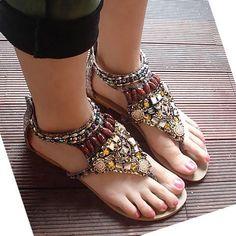 Chic Rhinestone & Beading Bohemian Style Flat Heel Sandals