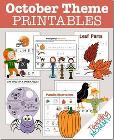 Don't miss this collection of FREE October Themed Printables. You'll find pumpkin, scarecrows, spiders and more educational theme packs for your students.