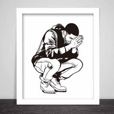 Drake 6 God Art Poster 3 sizes // Jumpman Hotline by BabesnGents
