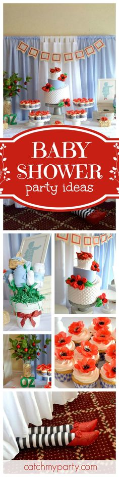 Come meet the Wizard at this fun Wizard of Oz baby shower. Love that the legs of the the Wicked Witch of the West are stuck under the table!  See more party ideas and share yours at CatchMyParty.com