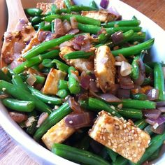 Sesame Tofu with Sauteed Green Beans - 20 mg of Sodium per serving.