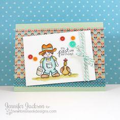 Farmer and Chicken Birthday Card by Jennifer Jackson | Farmyard Friends stamp set by Newton's Nook Designs