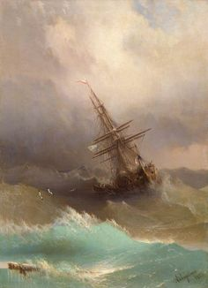 Ivan Aivazovsky, Ship in the Stormy Sea, 1887-sun on a wave