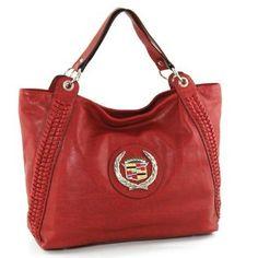 Officially Licensed GM Cadillac Emblem Fashion Designer Trendy Shoulder Bag Handbag Tote in Red: Amazon.com...
