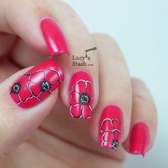 Lucys Stash - Poppies nail art