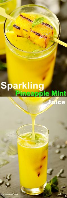 Sparkling Pineapple Mint Juice garnished with Grilled Pineapple -- A super refreshing drink with eats!  #drink #pineapple #mint