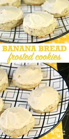 banana bread brownies Banana Bread Cookies are a delicious bite-sized version of your favorite dessert with a yummy homemade frosting on top. Banana Dessert Recipes, Köstliche Desserts, Banana Bread Recipes, Delicious Desserts, Banana Bread Cookies, Banana Chocolate Chip Muffins, Cookies With Bananas, Desserts With Bananas, Recipes With Bananas