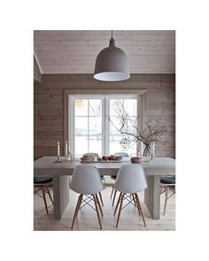 wood wall, white furniture At the Lake Natural Desks, Decor, Home, Furniture, Dining Room Chairs, House Interior, Log Cabin Interior, Dining, Cabin Interiors