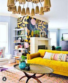 Gold sofas: Midas-touched home decor - Home Decor - Deco Home Room Design, Interior Design, Colorful Living Room Design, Eclectic Living Room, Wallpaper Living Room, Bohemian Living Room, Yellow Living Room, Colourful Living Room, Living Room Designs