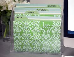 Love this acrylic file holder!  Wish I knew where it was from!