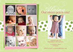 Sweet pea first birthday party invitation