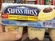Swiss Miss Chocolate Covered Banana Pudding Chips Ahoy Cookies, Pudding Flavors, Chocolate Covered Bananas, Impulsive Buy, Swiss Miss, Chocolate Snacks, Pie Tops, Weird Food, Food Reviews