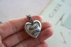 in silver ox Baseball Jewelry, Baseball Crafts, Baseball Stuff, Baseball Mom, Baseball Girlfriend, Jewelry Box, Jewelry Accessories, Johnny Bench, Heart Locket Necklace