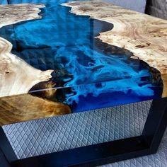 Blue river table top with epoxy inlay Senna siamea wood, epoxy table, resin table, coffee table Diy Resin Table, Epoxy Wood Table, Epoxy Resin Table, Wood Table Design, Resin Furniture, Diy Resin Crafts, Wood Slab, Blue Art, Resin Art