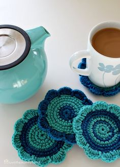 crochet coasters tutorial (love the colors!)
