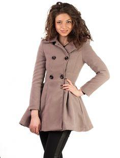 "Palton ""Really Brave"" Grey Brave, Grey, Coat, Jackets, Fashion, Gray, Down Jackets, Moda, Sewing Coat"
