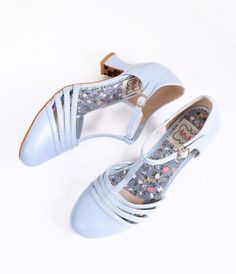 bf7cbac31eb Bettie Page Light Blue Leatherette Lucy T-Strap Heels T Strap Shoes