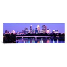 "East Urban Home Panoramic Minneapolis, Minnesota Photographic Print on Canvas Size: 12"" H x 36"" W x 1.5"" D"