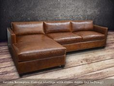 Arizona Leather Sectional Sofa with Chaise - Top Grain Aniline Leather #LeatherSectionalSofas