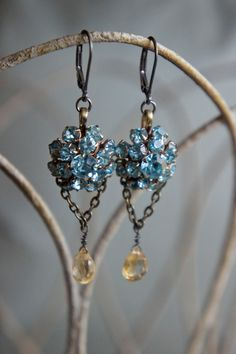 Vintage assemblage earrings blue rhinestones designer vintage gemstones dangle assemblage jewelry -  by French Feather Designs.. $48.00, via Etsy.