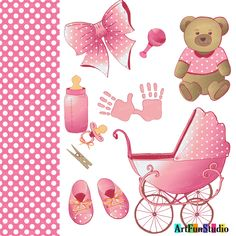 Baby girl Newborn Pink clipart set-digital clip art graphics Vector (AI, EPS, JPEG) image of bear toy, newborn stroller, baby shoes, nipple, bottle, baby toy, typos pens. 11 elements and texture. #BabyStrollers