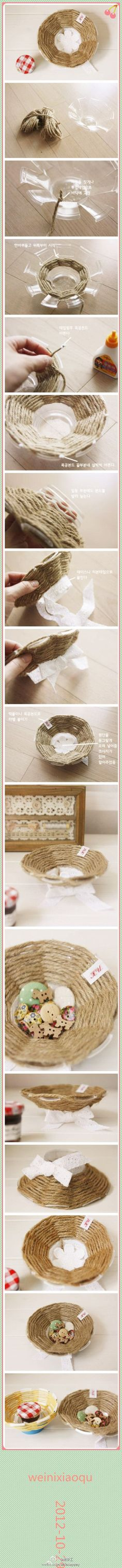 Plastic solo cup craft;  Looks like a cute DIY project, I can't read the foreign language, but I think wrapping it with yarn would look really pretty too