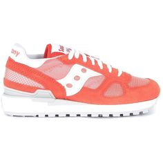 sneaker-saucony-shadow-in-salmon-suede-and-fabric ($105) ❤ liked on Polyvore featuring shoes, sneakers, rosa, salmon shoes, saucony, saucony shoes, suede shoes and suede leather shoes