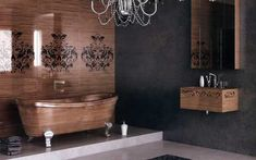 модер украшенный деревянной ванной комнатой