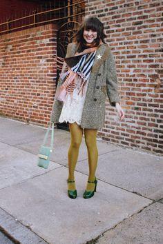 Fancy Fine, mustard, olive green, coloured tights, autumn, style, fashion, dress, dark hair