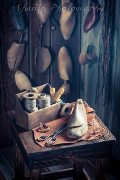 "Vintage shoemaker workshop - The photograph is part of the series ""Vintage Craftsmanship"""