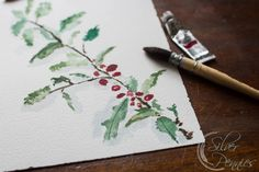 Watercolor Holly Branch