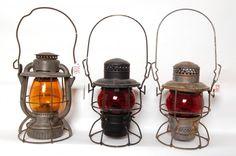Old Railroad Lanterns | 1016: Three Railroad lanterns CNR, DLWRR and Penn