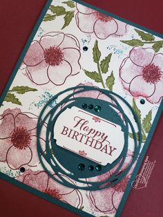 Painted Poppies Bundle Birthday Card - Christy's Stamping Spot cards - Painted Poppies Bundle Birthday Card Stampin' Up! Painted Poppies Bundle, Layered With Kindness stamp set, and Label Me Fancy Punch. 3d Birthday Card, Unique Birthday Cards, Masculine Birthday Cards, 21st Birthday, Tarjetas Stampin Up, Country Birthday, Poppy Cards, Fun Fold Cards, Stampin Up Catalog